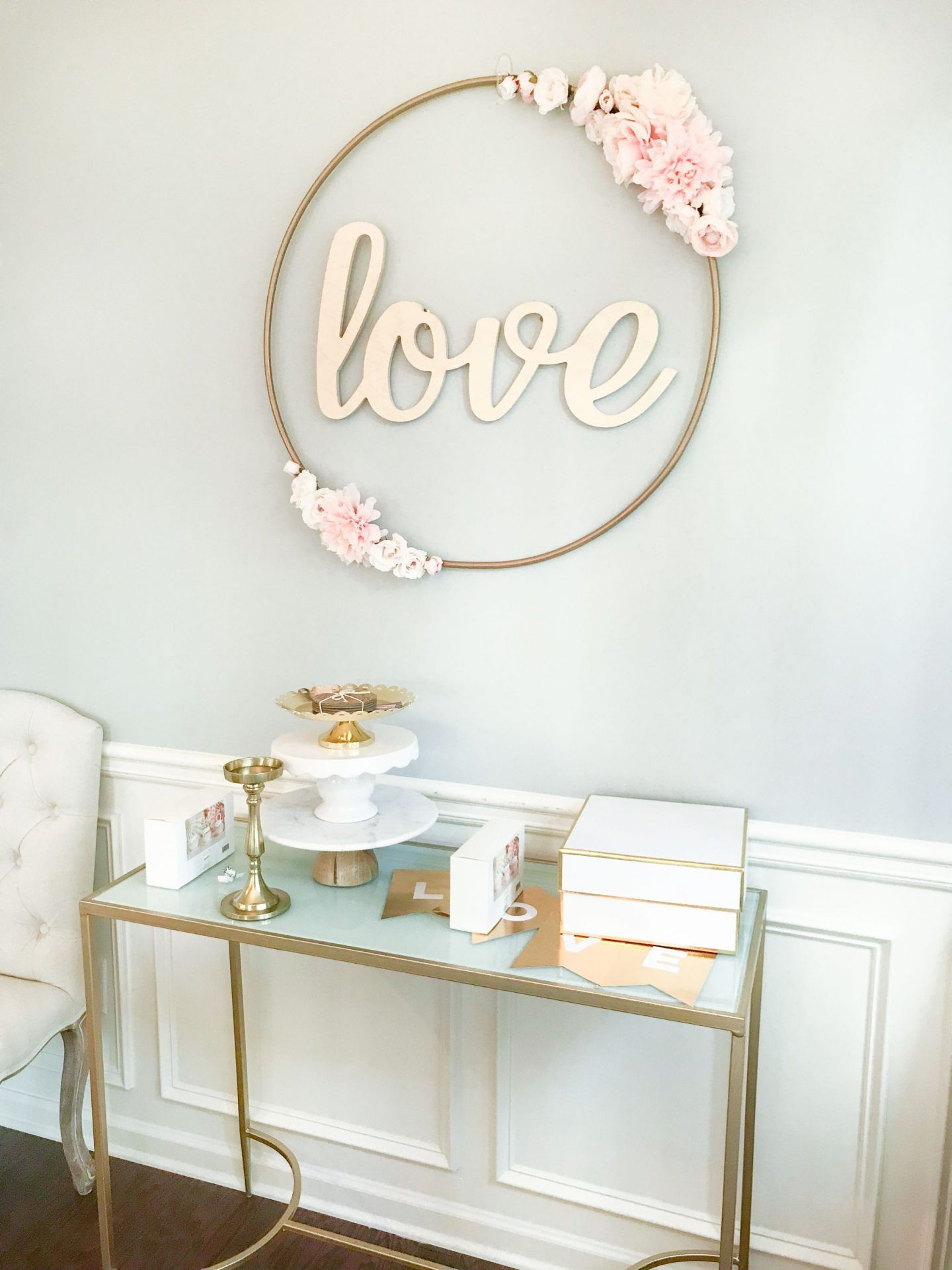 Diy Hula Hoop Love Sign Blush And Gold Bridal Shower Decor Girls