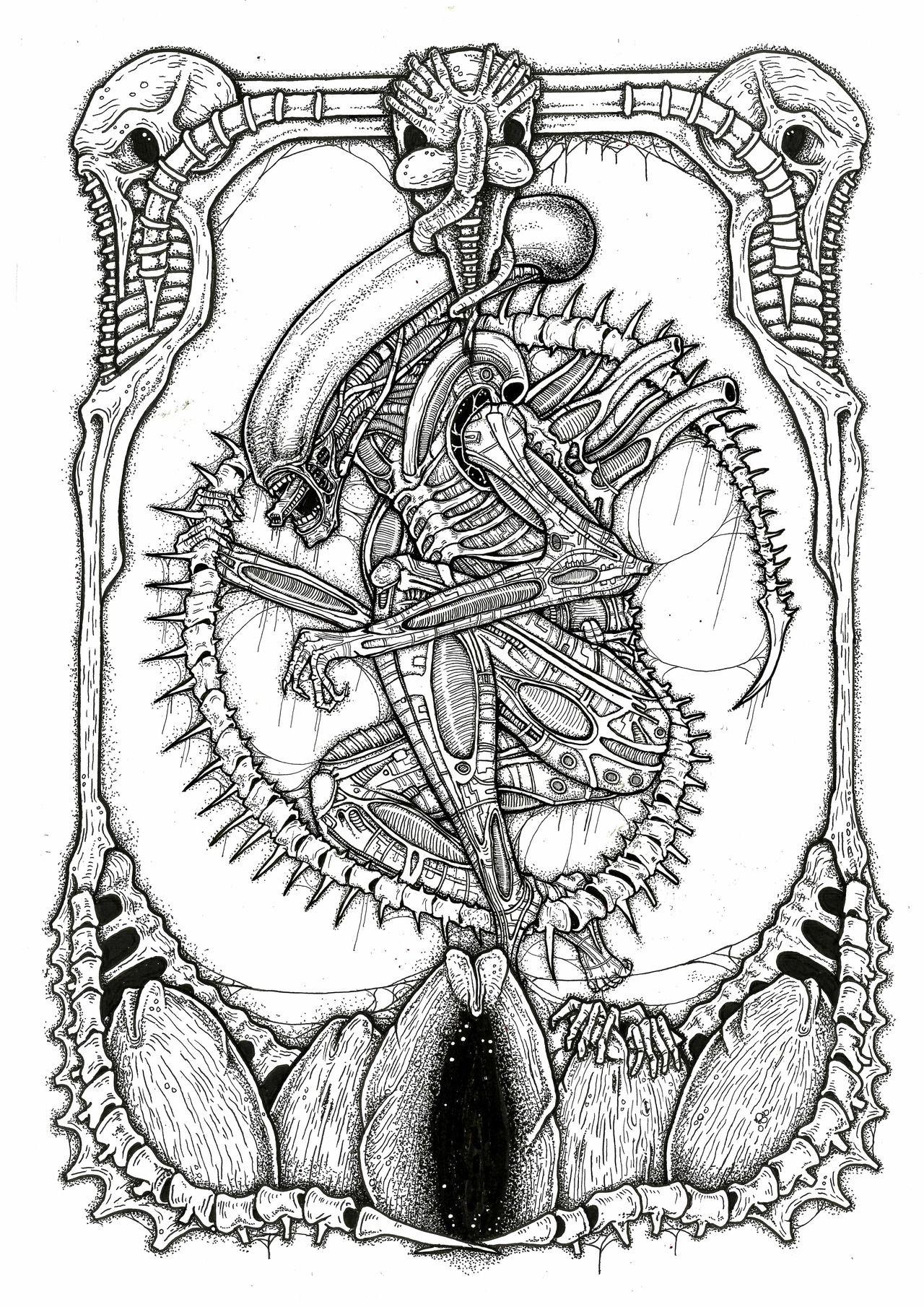 Alex Yates Illustrations Alien Tattoo Predator Alien Xenomorph