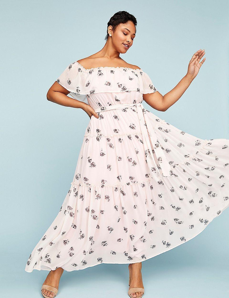 e7d1eb6cb589 Off-the-Shoulder Ruffle Maxi Dress | Lane Bryant - Plus Size Fashion for  Women - Ad