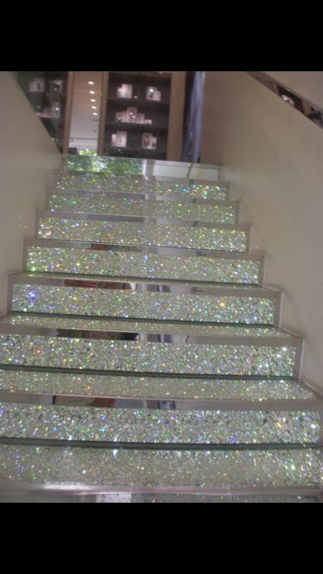 This Bright, Sparkly, Silver staircase expresses creativity and shows your imagination within.