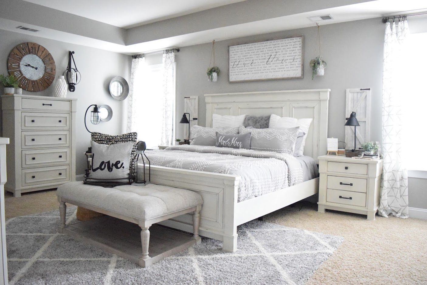 Robin Long Personalizes Master Bedroom With Love Ashley Homestore Master Bedroom Remodel Remodel Bedroom Farmhouse Style Master Bedroom