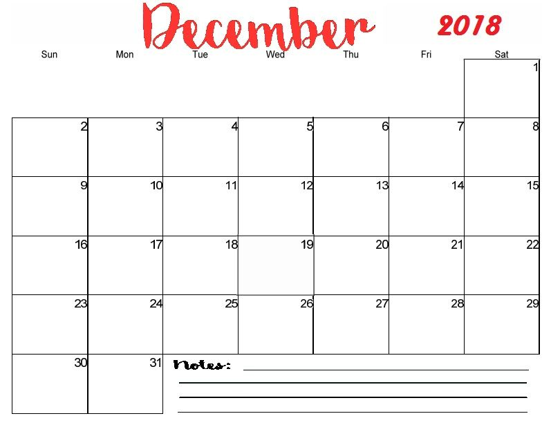 December 2018 Calendar Excel Printable Template December