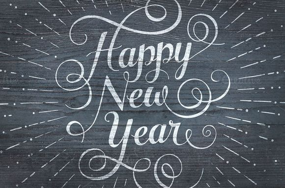 Happy New Year lettering by wellow on Creative Market   Christmas     Happy New Year lettering by wellow on Creative Market
