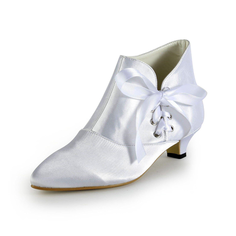 Robot Check Womens Wedding Shoes Kitten Heel Ankle Boots Heels