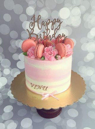 Pink Buttercream Cake With Macs And Flowers Mom S 40th