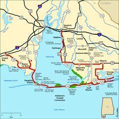 Alabama Gulf Coast Map Alabama's Coastal Connection   Map | America's Byways | Alabama in
