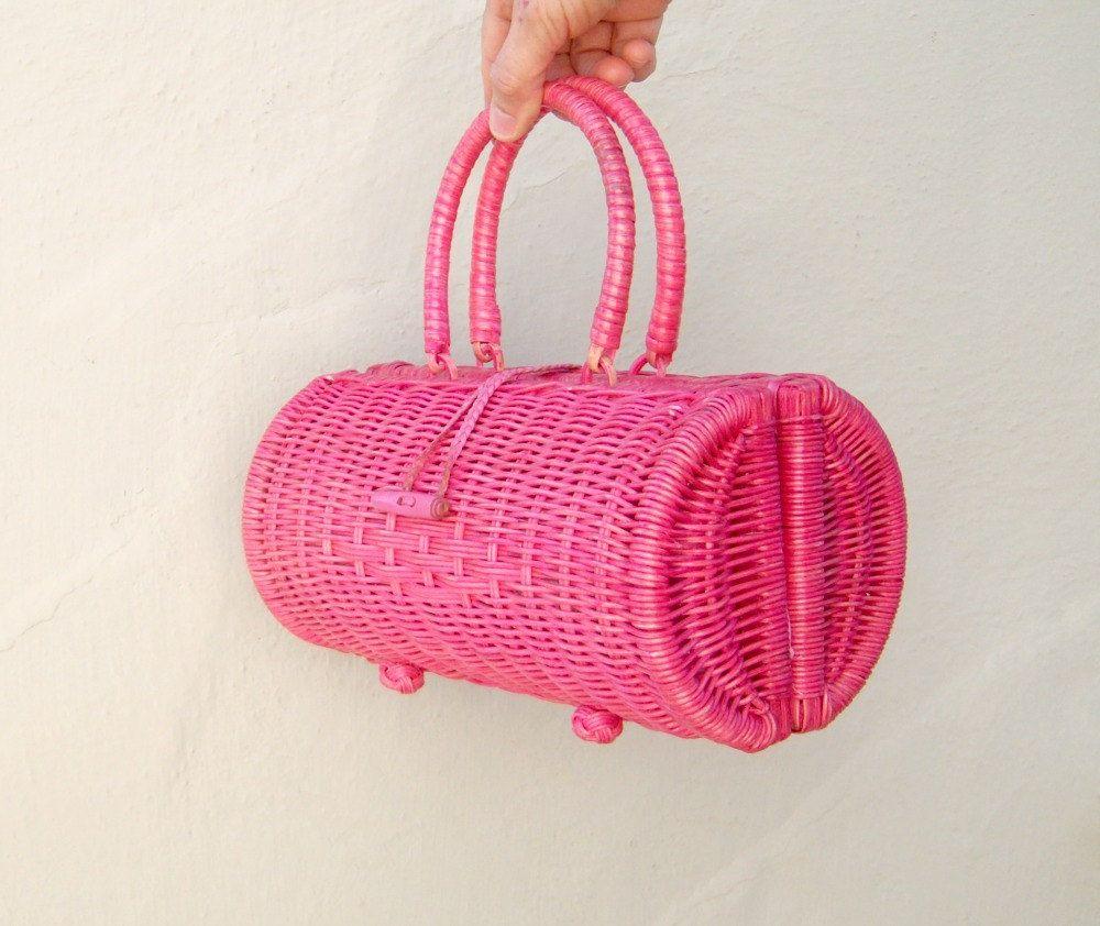 Vintage #pink wicker #basket #handbag // leather... | Wicker Blog    wickerparadise.com