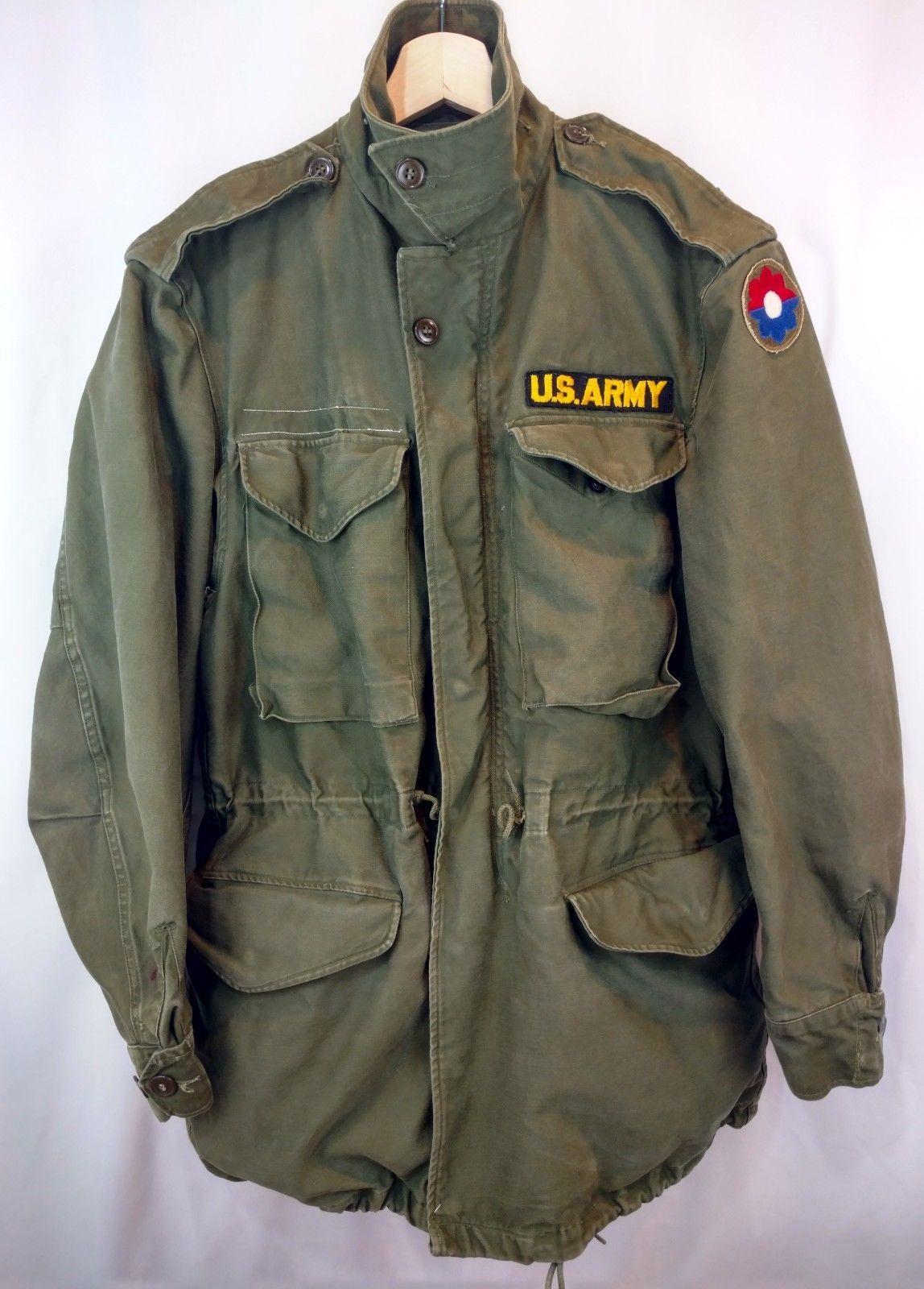 Vtg US Army M 1951 Korea Jacket Shell Field Coat OG Patched Men s S Women s  M  6dc1c0a02
