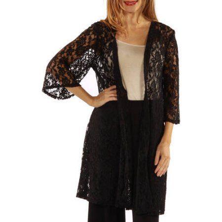 Women's Elegant Lace Cardigan Jacket, Size: Medium, Black ...