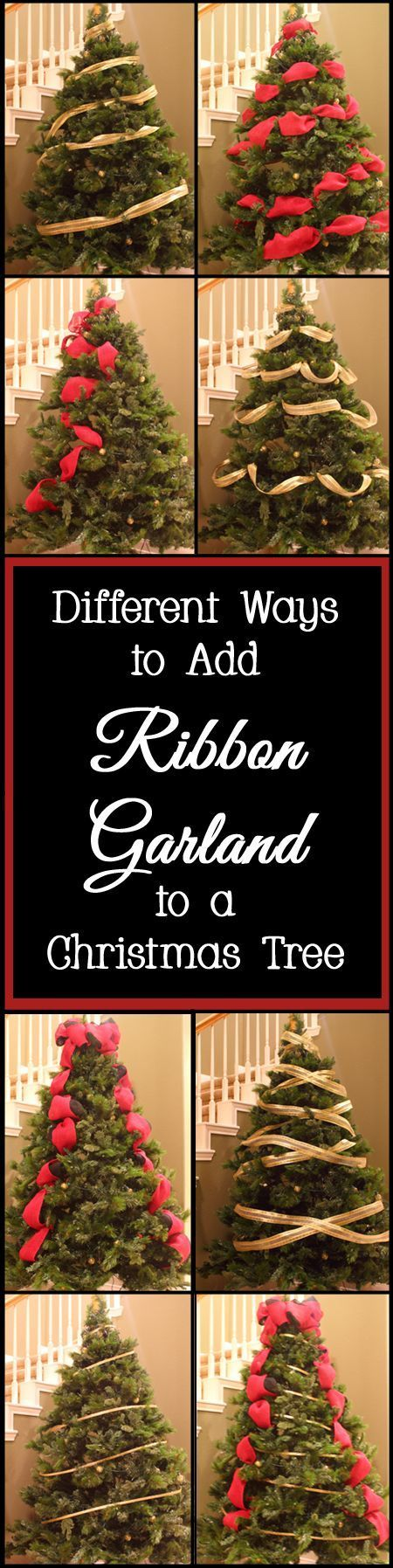 different ways to add ribbon garland to a christmas tree ribbon garland christmas tree and garlands - Christmas Tree Ribbon Garland