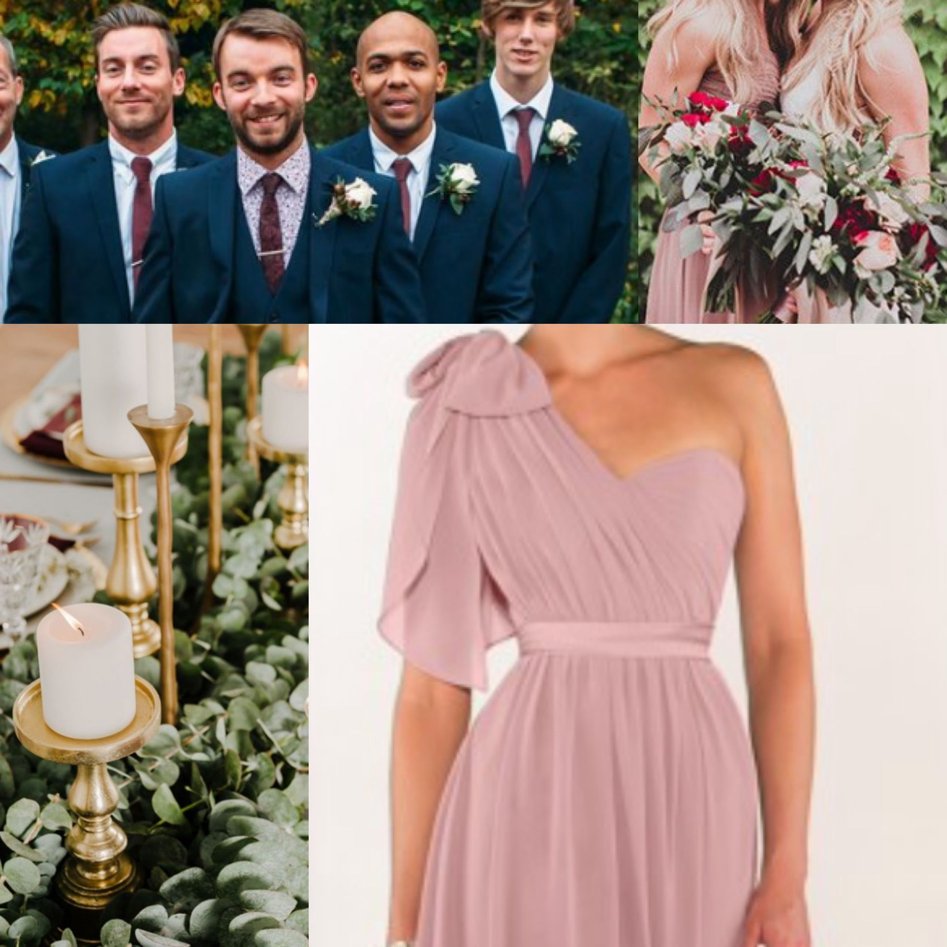 Dusty rose, marsala, navy, & gold | wedding | Pinterest | Vestidos ...