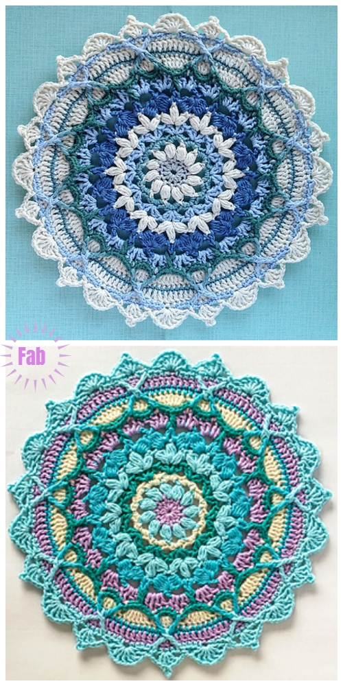 Crochet Winter Mandala Free Crochet Pattern & Paid