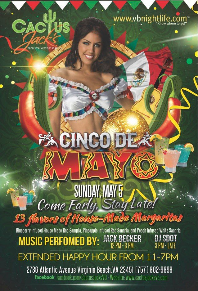 Join Vbnightlife For Cinco De Mayo At Cactus Jacks Virginia Beach Day Life