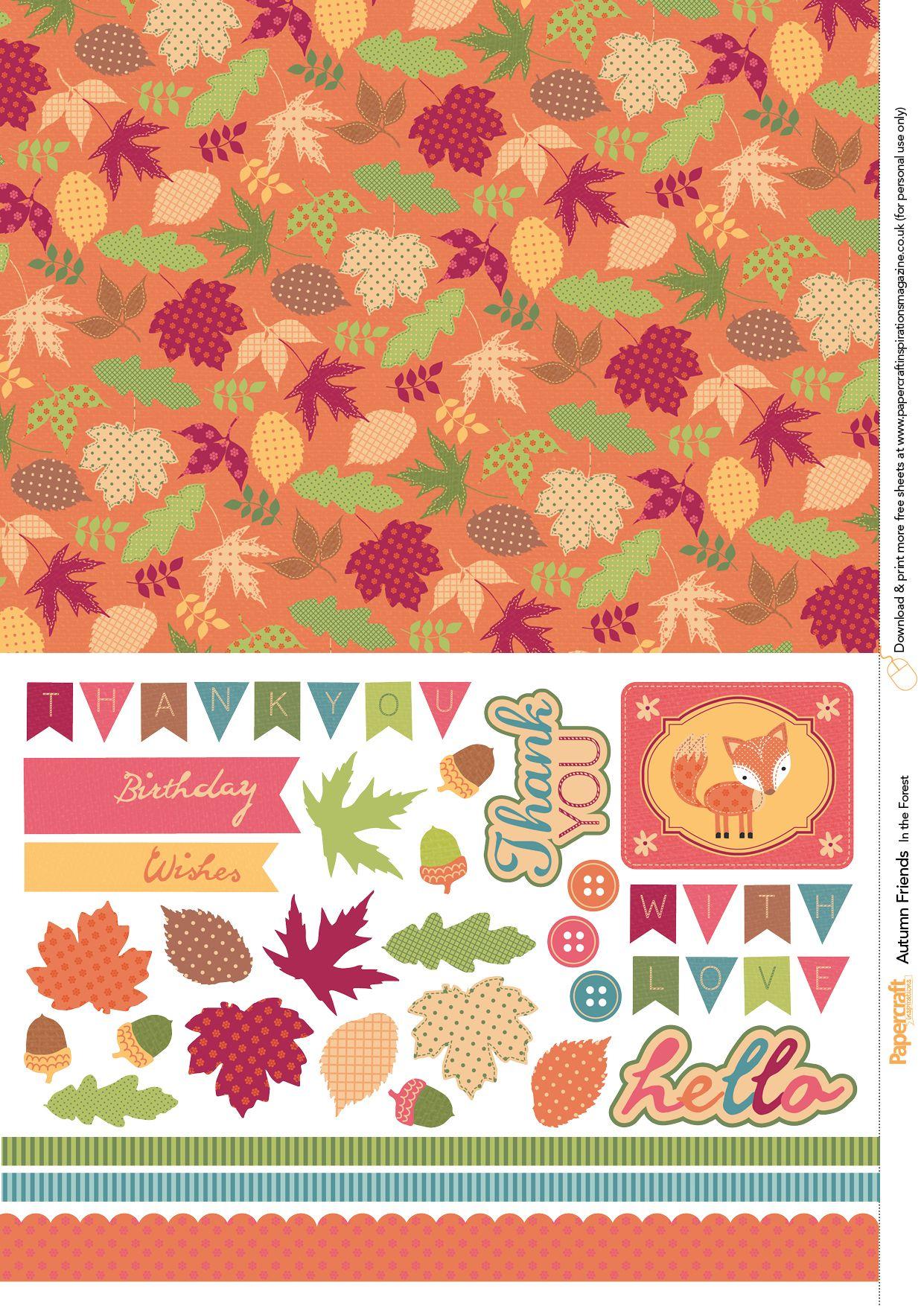 Free Autumnal Squirrel And Owl Printables Digital Scrapbook Paper Scrapbook Printing Paper Crafts