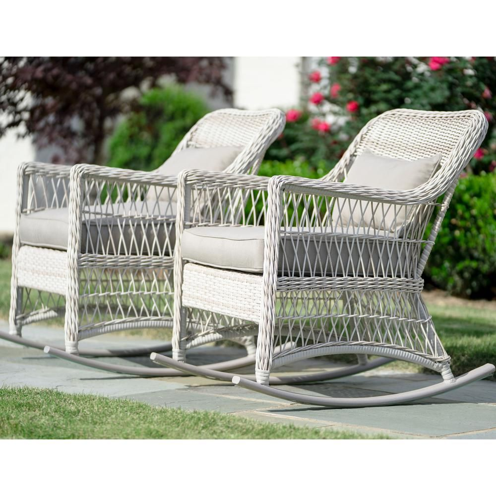 Leisure Made Pearson Antique White Wicker Outdoor Rocking Chair With Tan Cushions 2 Pack 276435 Awh The Home Depot Wicker Rocking Chair Outdoor Wicker Rocking Chairs Rocking Chair Set
