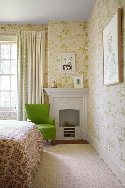 The Spare Room | Cream curtains, Green accents and Neutral
