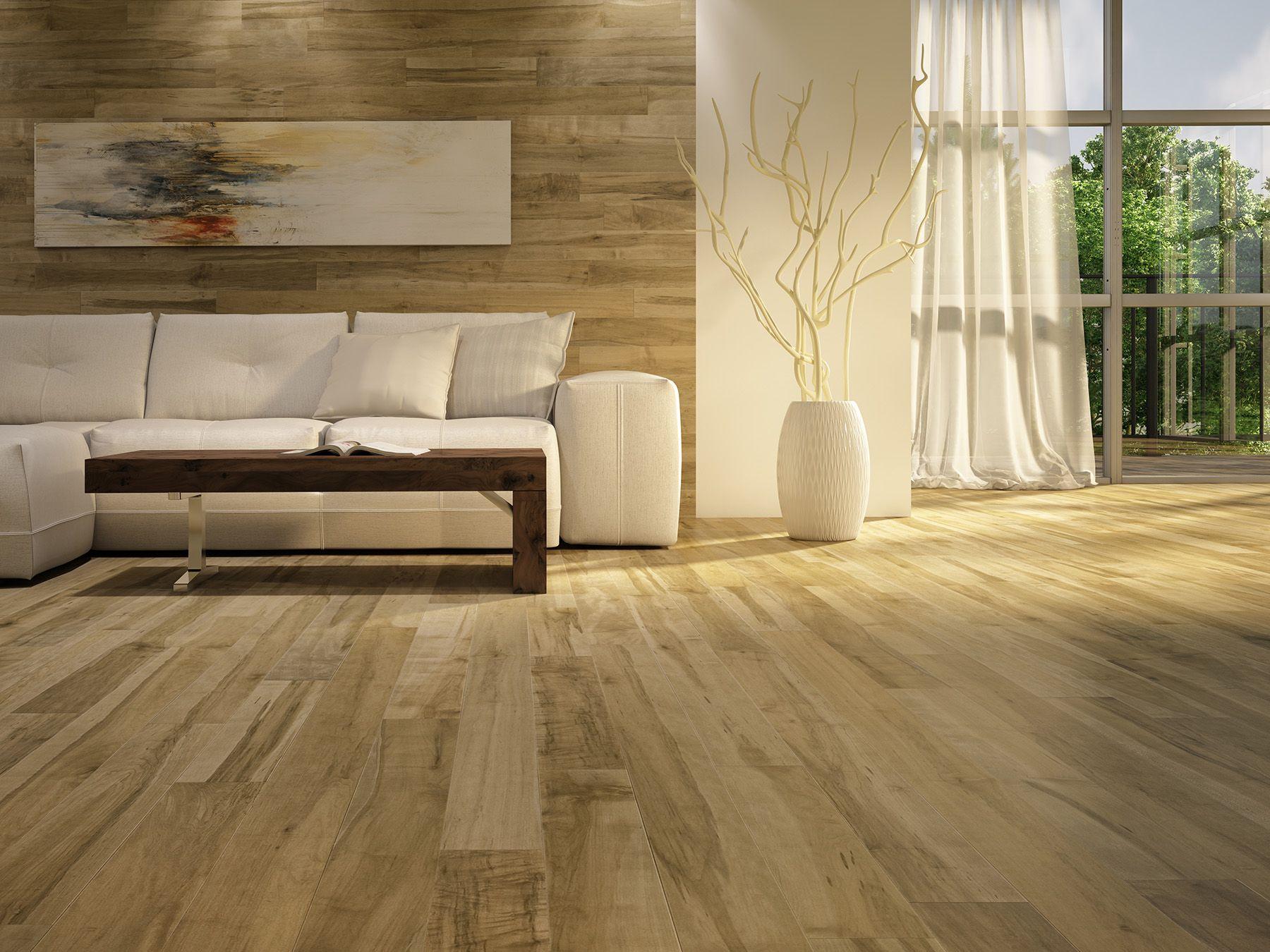 Ambiance de salon chaleureuse plancher de bois franc Warm