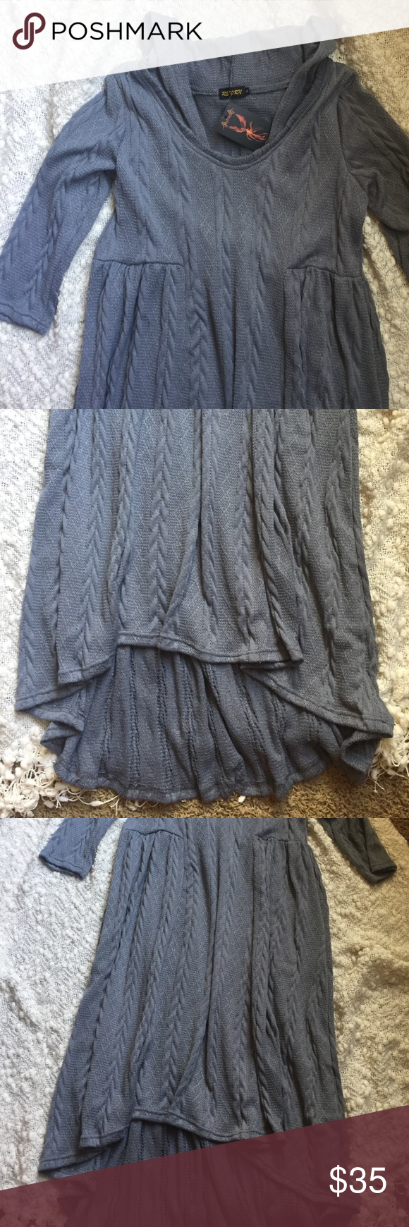 Reborn XL NWT hooded sweater Dress 👗 Brand new with tags / grey dress reborn Dresses High Low