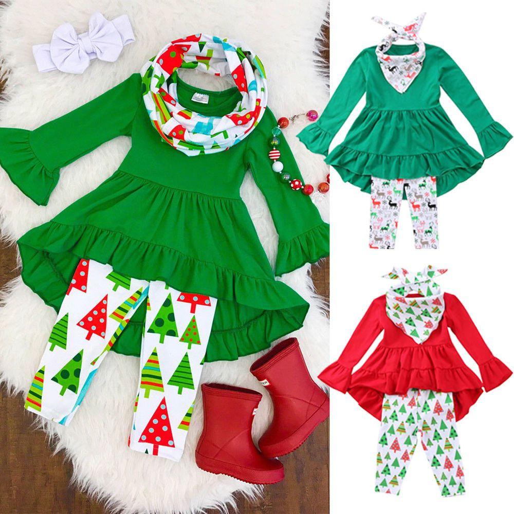 Toddler kids baby girls flower top blouse pants leggings outfits set