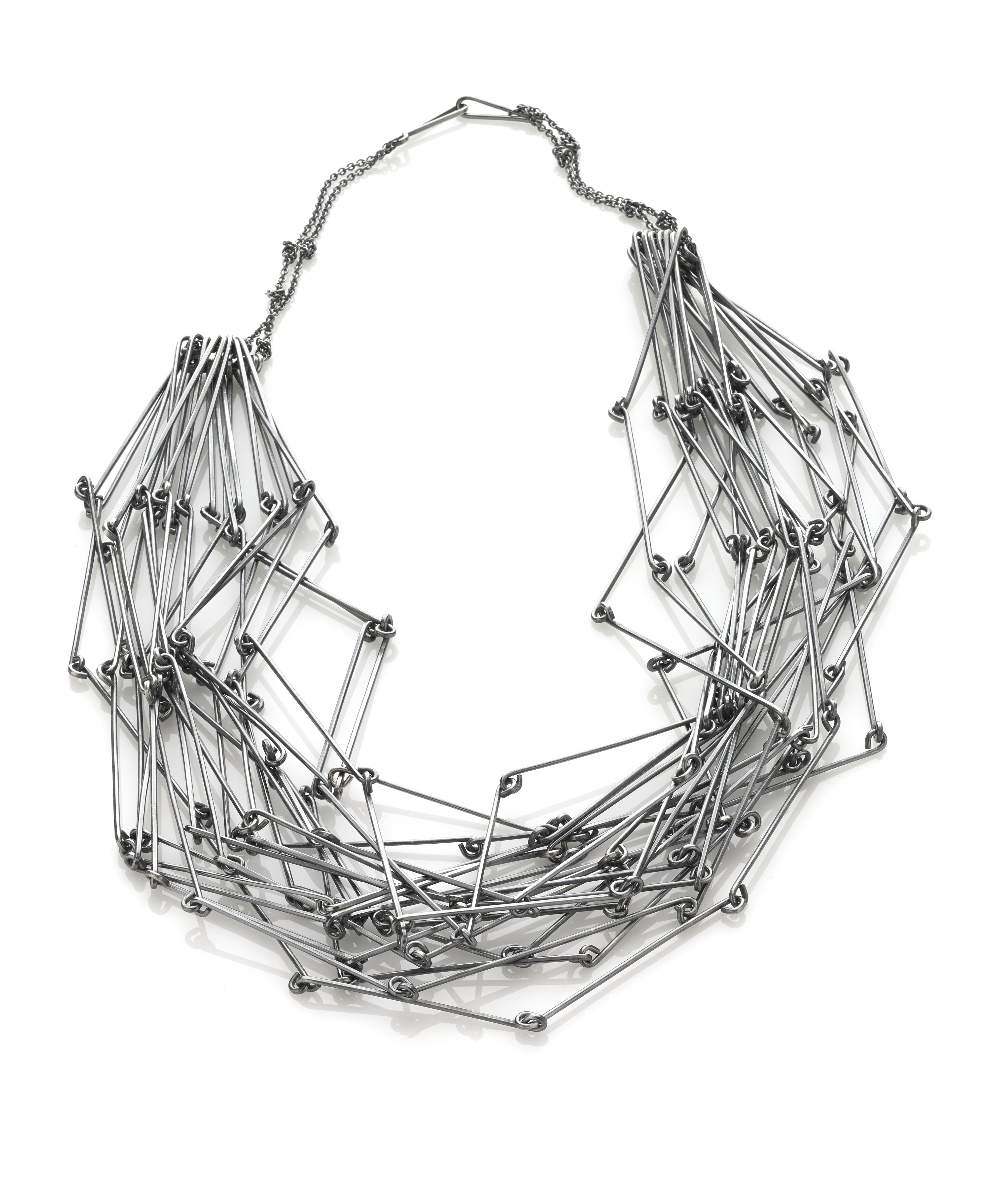 Space in between necklace, oxidized sterling silver by Amy