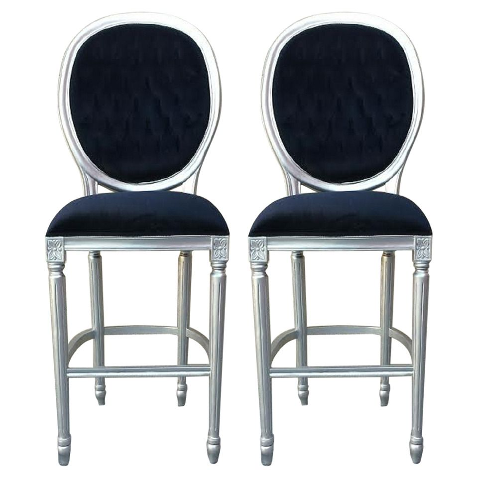 Pair Of Bar Stools In French Louis XV Style   From A Unique Collection Of  Antique