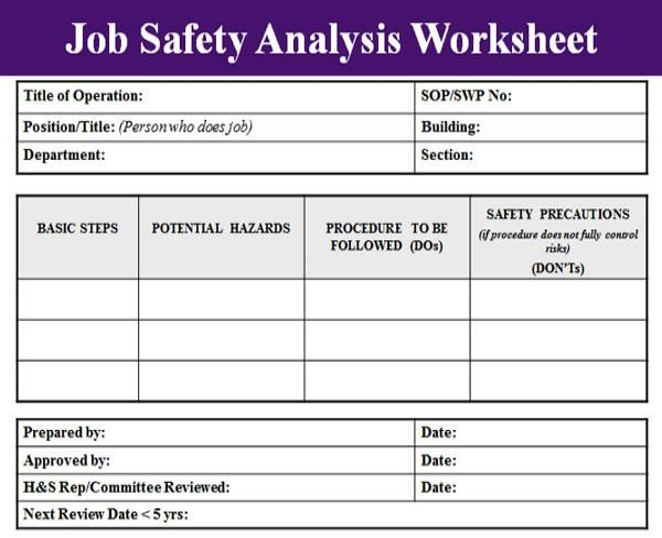 Blank Job Safety Analysis Excel Template  Analysis Templates