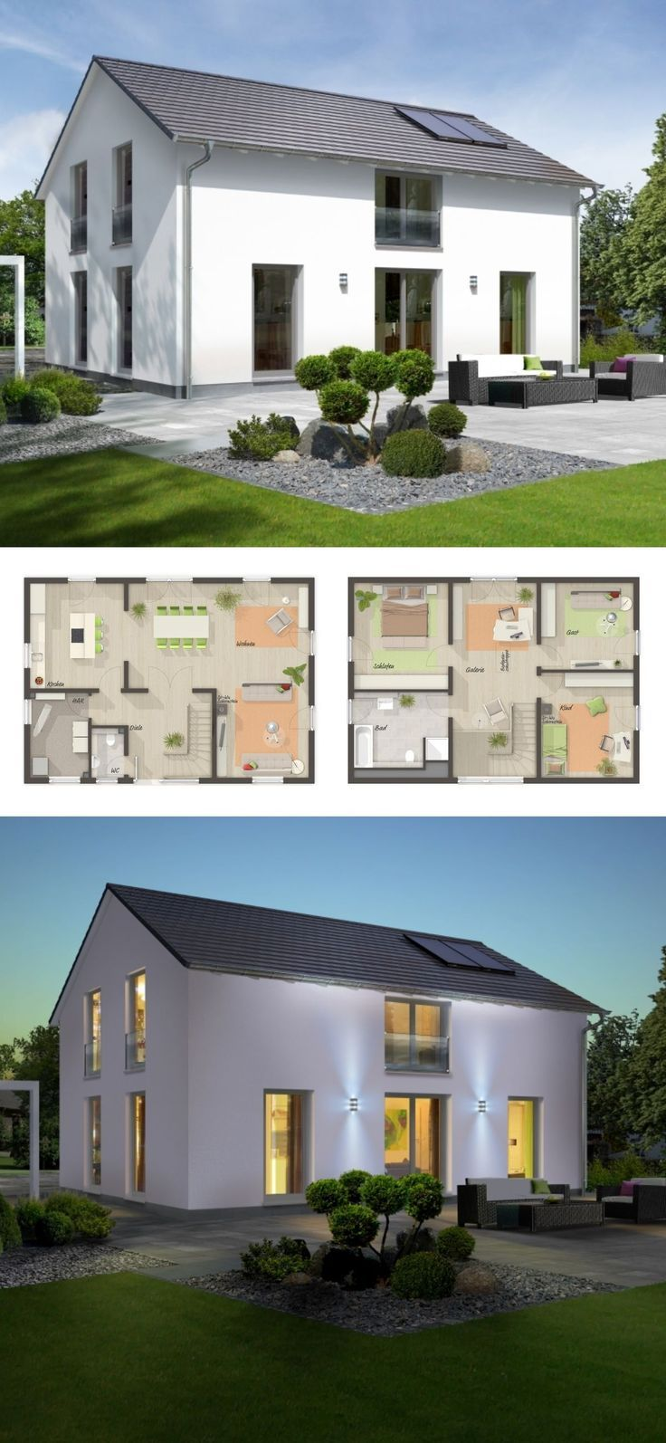 Modernes Landhaus Grundriss mit Galerie & Satteldach