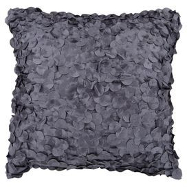 Delicately layered circles in charcoal bring chic textural indulgence to your living room or bedroom.