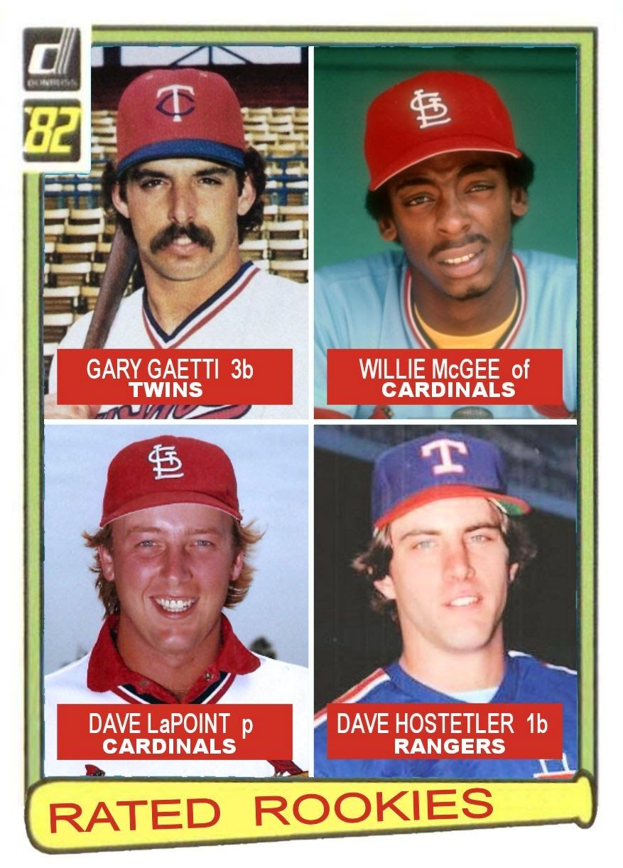 1982 Donruss Rated Rookies Gary Gaetti Minnesota Twins Willie Mcgee Dave Lapoint St Louis Cardinals Dave Host Baseball Cards Cardinals Baseball Baseball