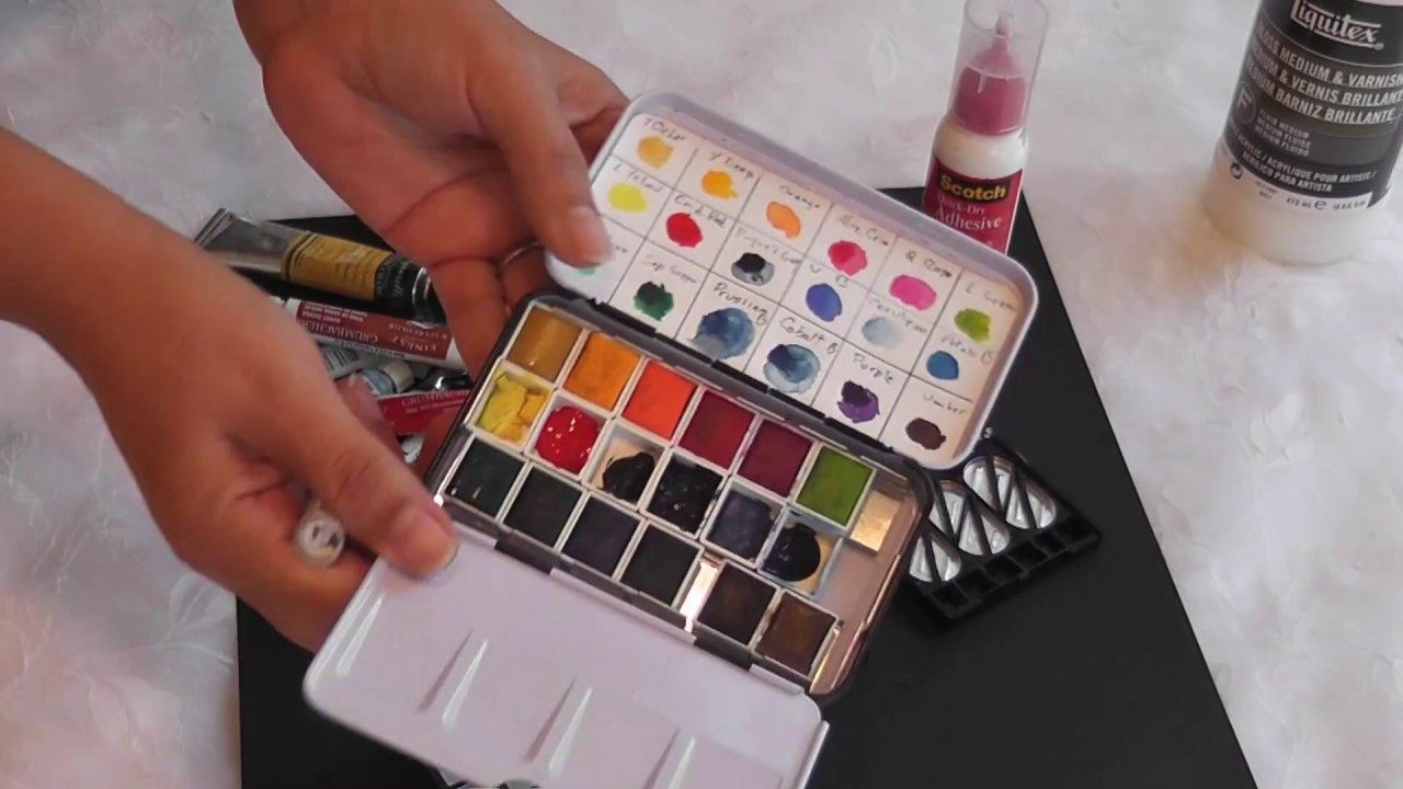 Diy Making A Watercolor Palette Using An Eye Shadow Box Shadow