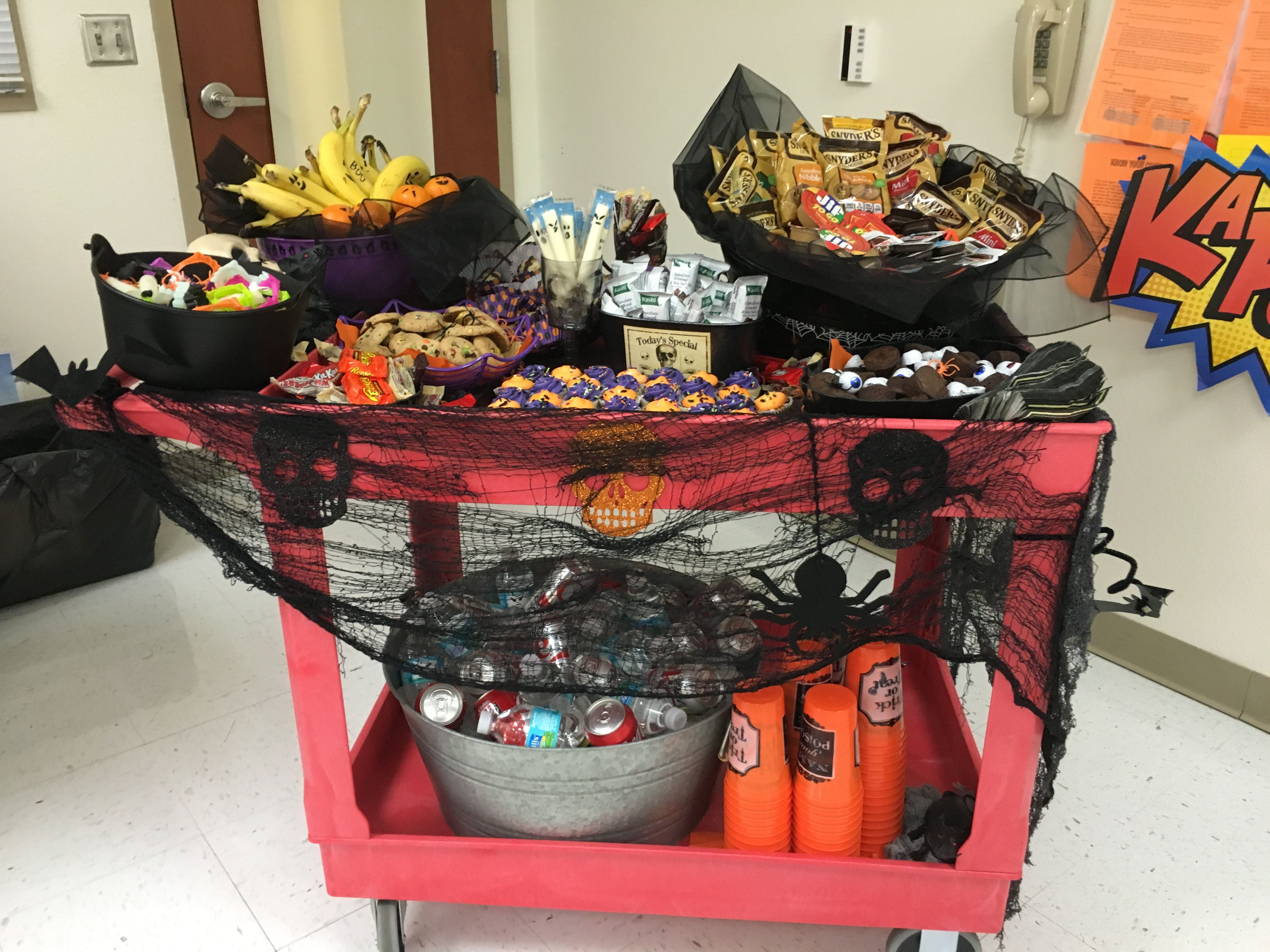 """A Halloween snack cart for the teachers and staff! Knocked on each door and said """"Trick or Treat""""!"""