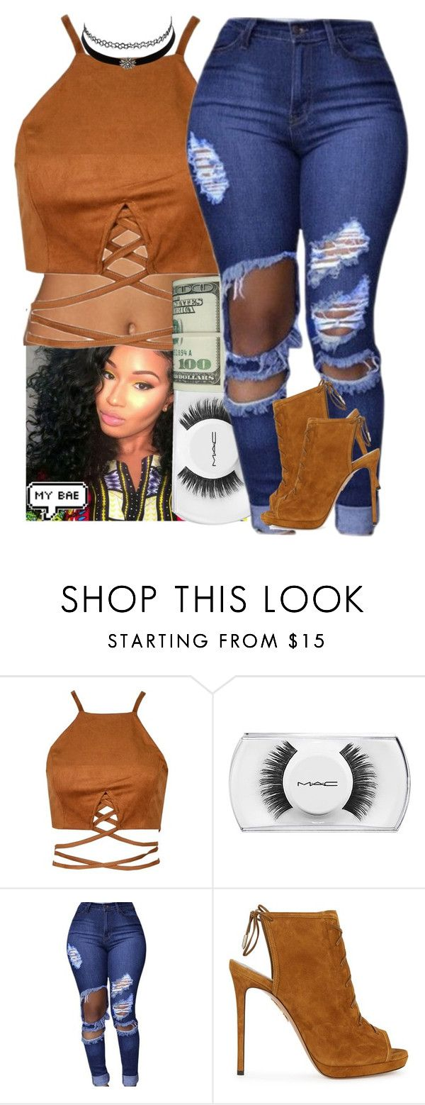 """""""L O V E L Y """" by frostedflakeess ❤ liked on Polyvore featuring MAC Cosmetics, Charlotte Russe and Aquazzura"""