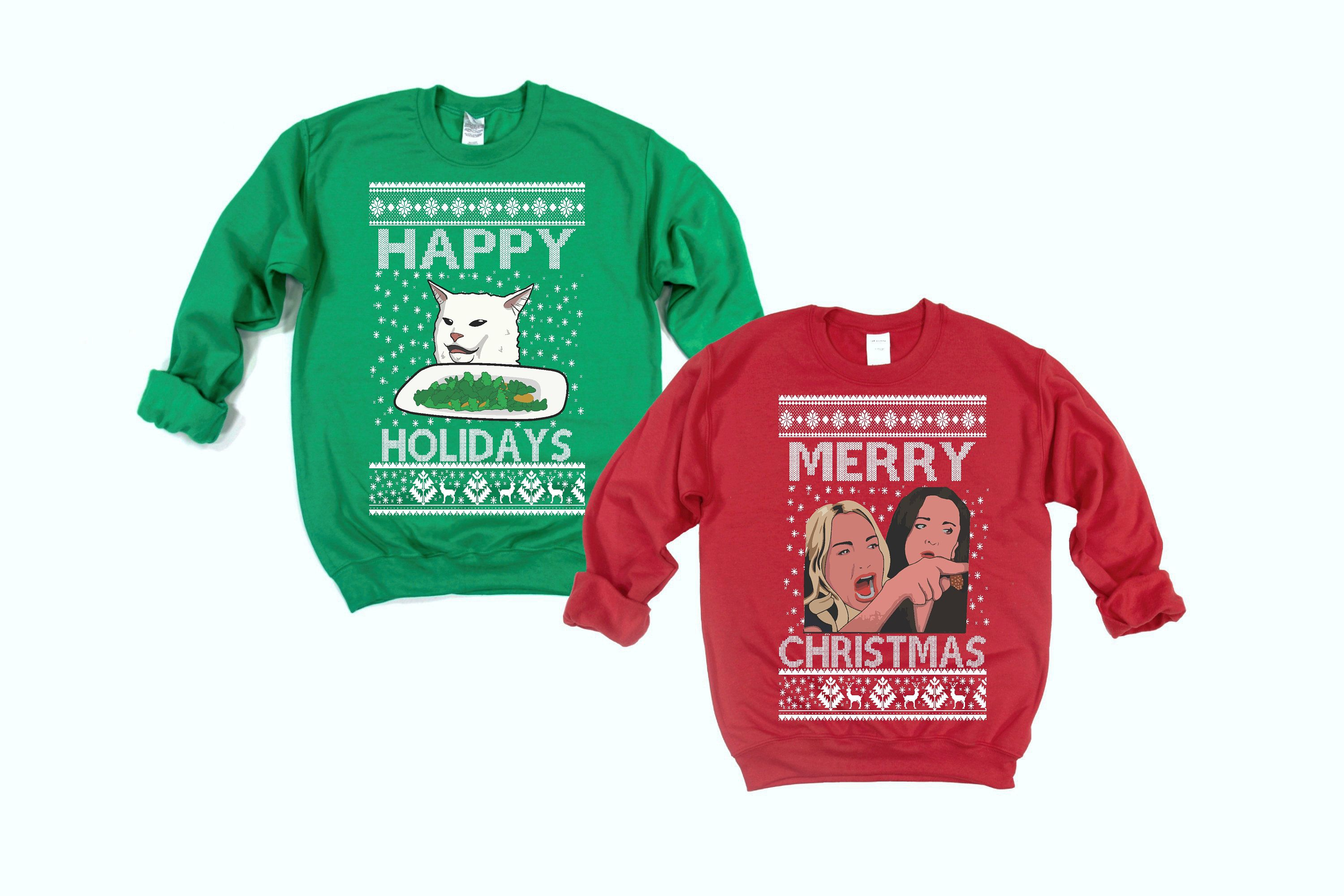 Cat Meme With Woman Ugly Christmas Sweater