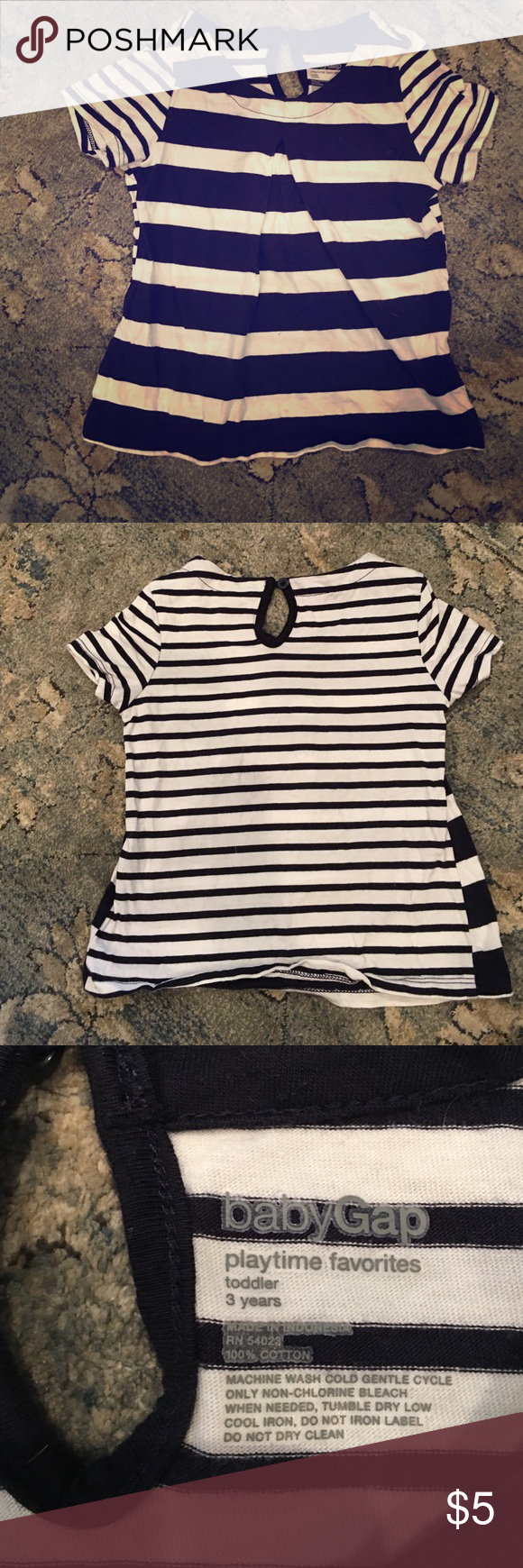 Gap toddler girl stripe shirt. Little cute toddler Gap stripe shirt.  Size 3t.  Navy and white stripes.  ❌No trades❌ GAP Shirts & Tops Tees - Short Sleeve