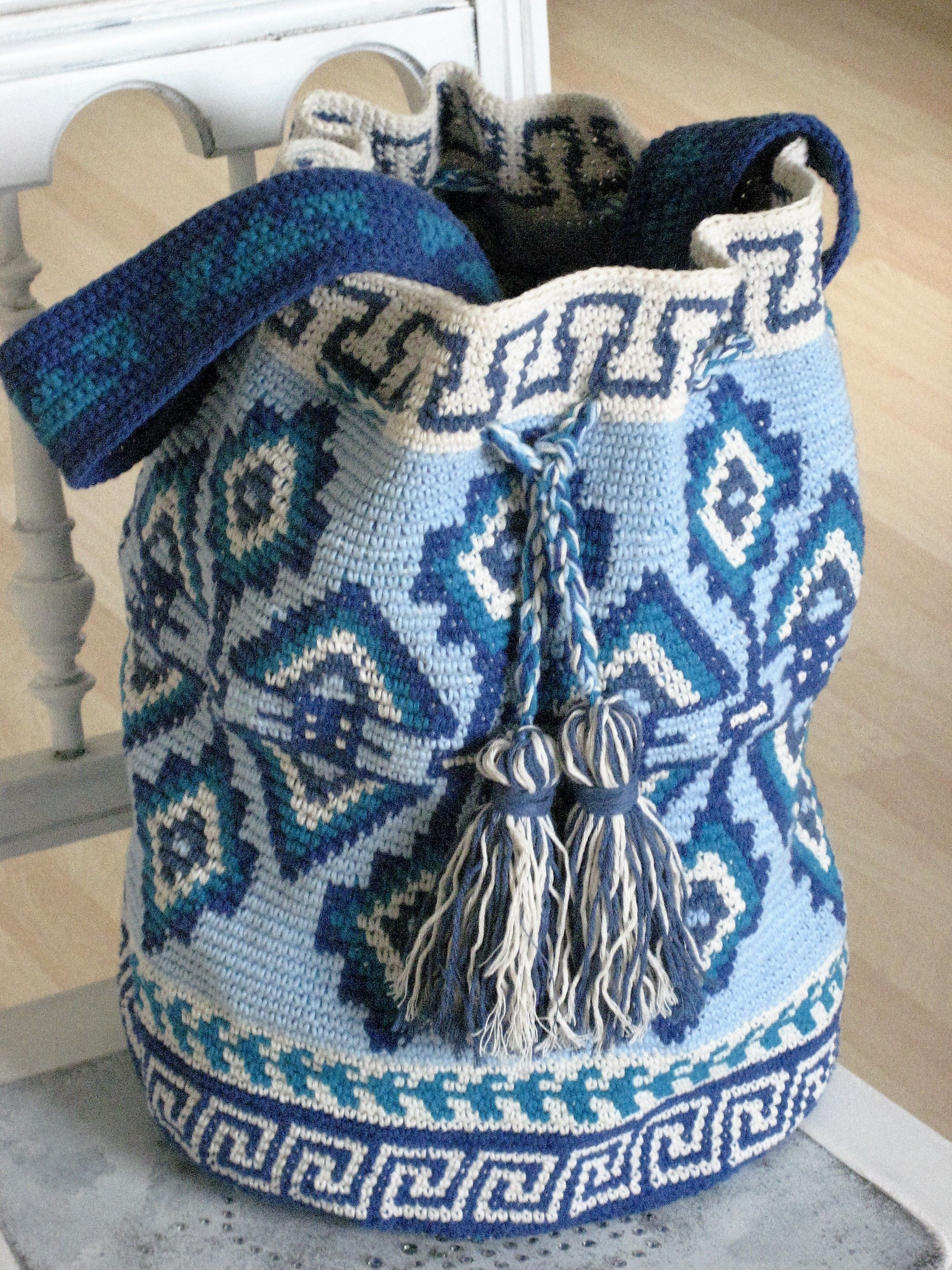 Photo of Mochila Tapestry Style, self crocheted, free instructions on www.facebook ….