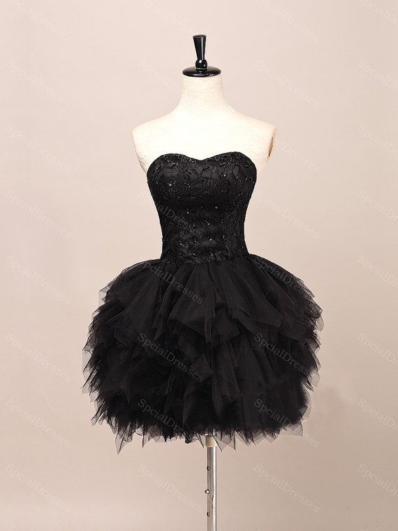 Black Ball Gown Sweetheart Short Mini Homecoming Dress Prom Dress