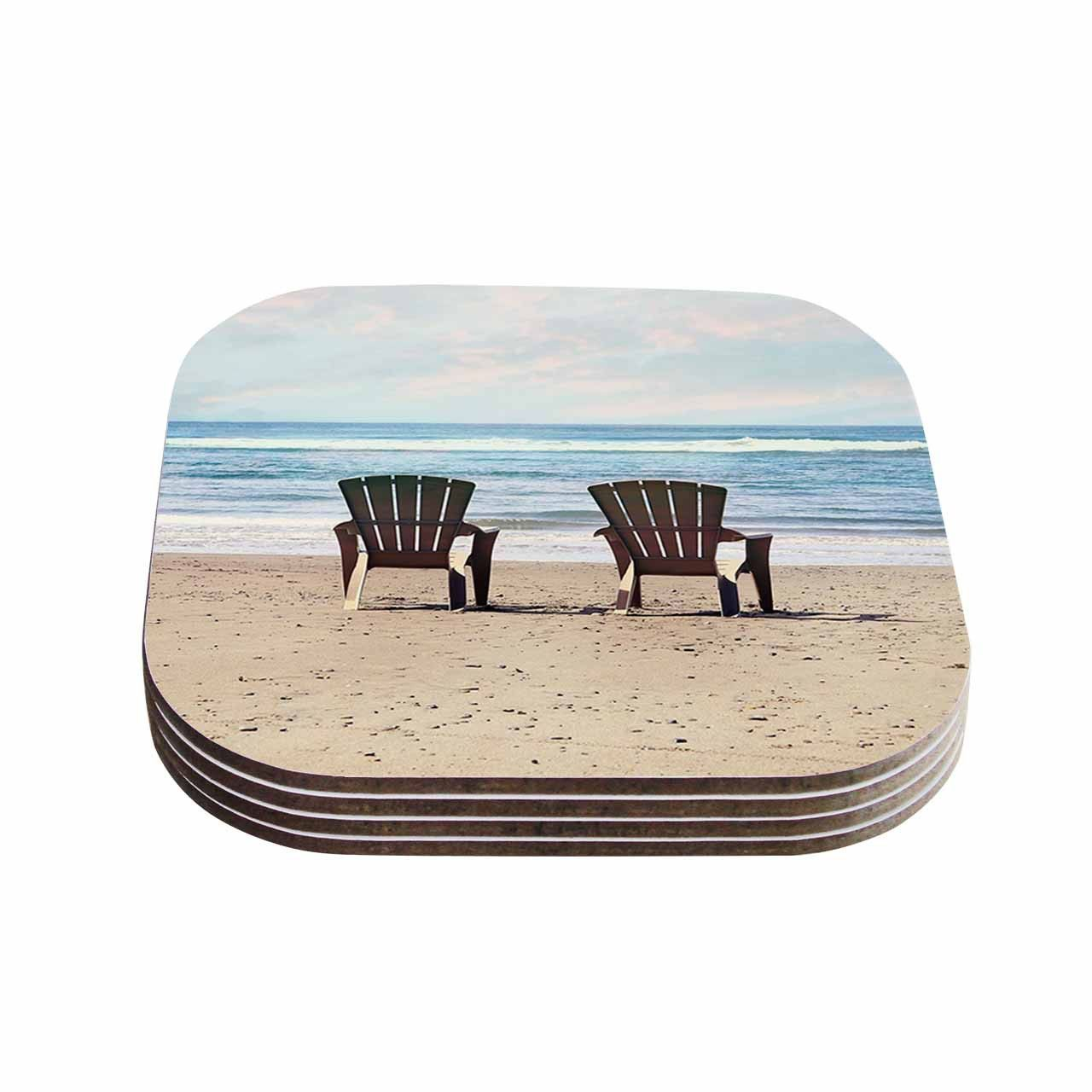 "Sylvia Cook ""A Great View"" Blue Travel Coasters (Set of 4)"
