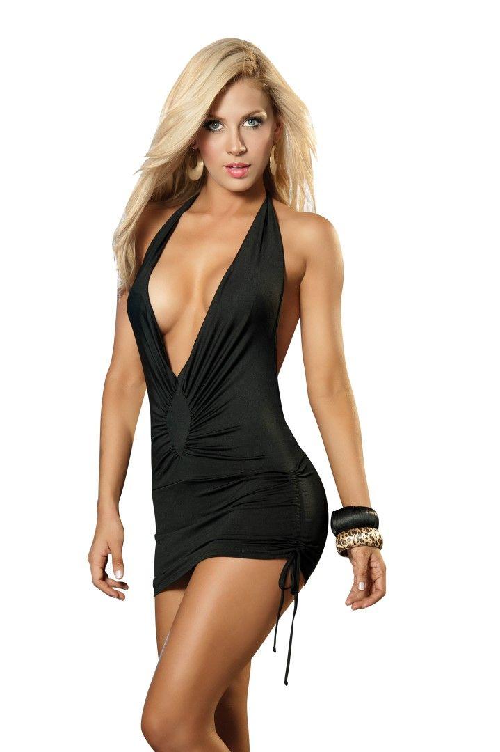 Black Halter Deep Plunge Sexy Mini Dress, Sexy Women's Clubwear