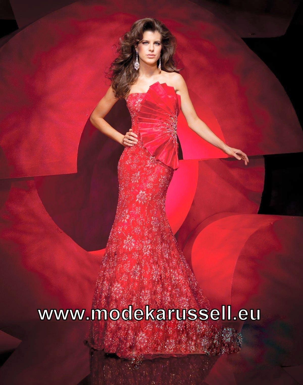 Aussergewöhnliches Tafft Meerjungfrau Abendkleid in Rot   günstige ...