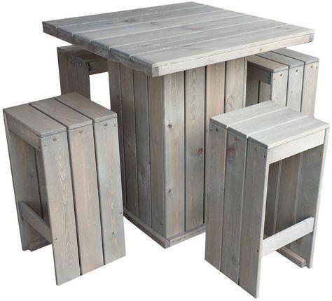 Bar Set Stehtisch Und 4 Barhocker Aus Fsc Holz Gartentisch