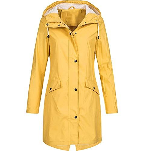 fa8b748608fe4 Kumike Fashion Women s Solid Rain Jacket Outdoor Hoodie Waterproof Long Coat  Overcoat Windproof Coat