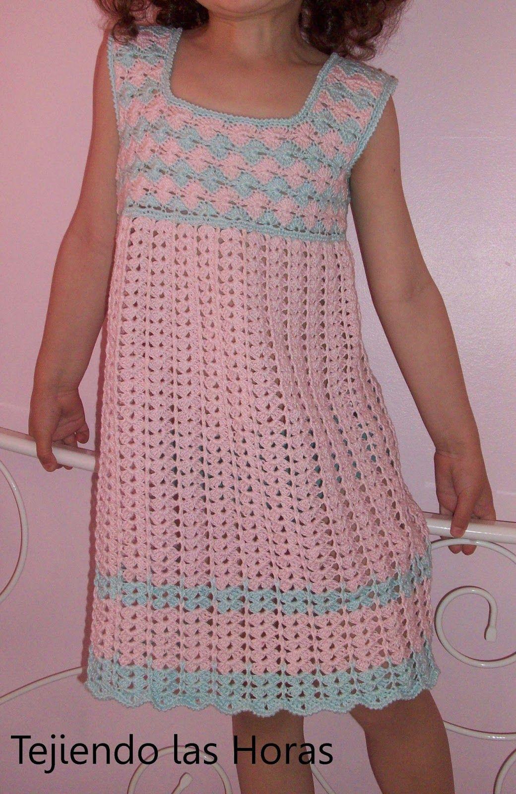 Tejiendo las horas: Vestido de Crochet/Ganchillo para niña ...