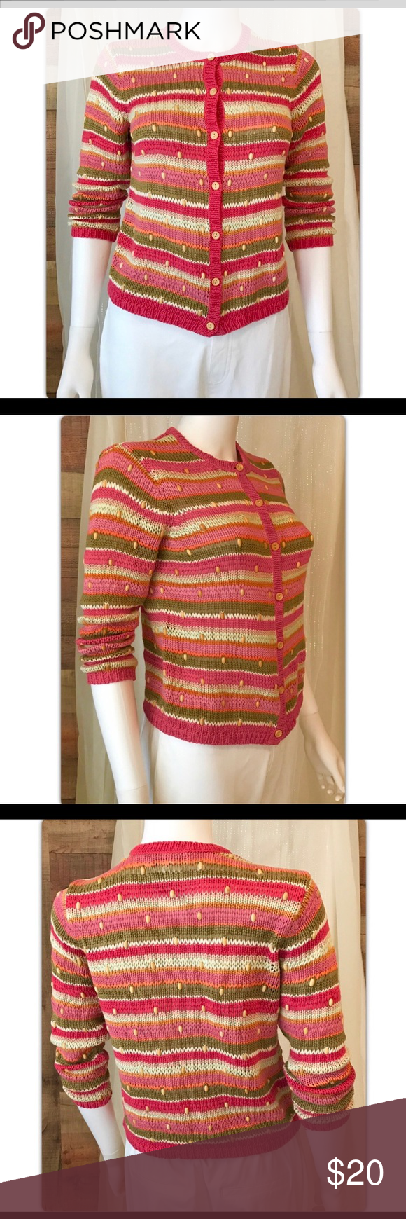 145a6b94863 Talbots Striped with Beads Cardigan Sweater 0P