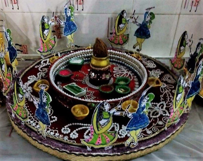 Navratri aarti thali decoration ideas diya decor for Aarti thali decoration designs