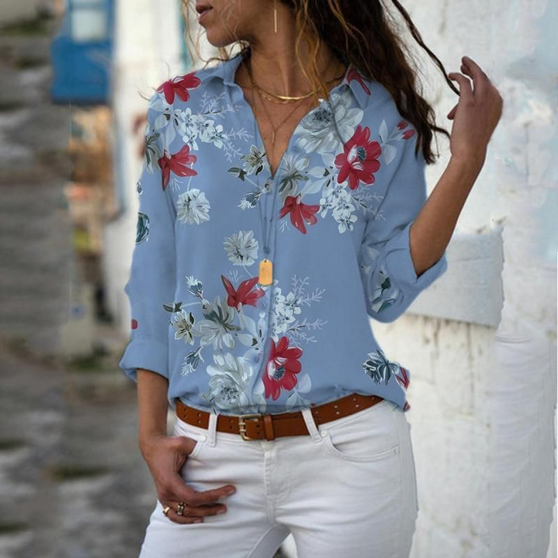 Source by selaesaltobr #Blouse #Blouses gasa #Chiffon #Female #Long #Print #sleeve #VNeck
