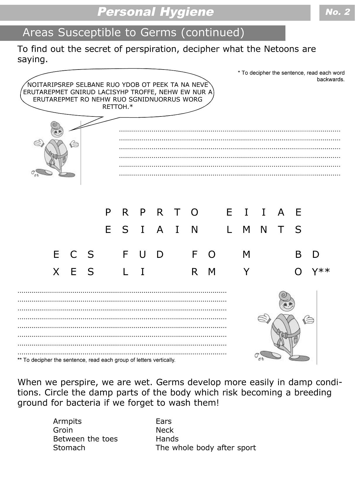 Personal Hygiene Worksheets For Kids Level 3 2 Girls Guards In