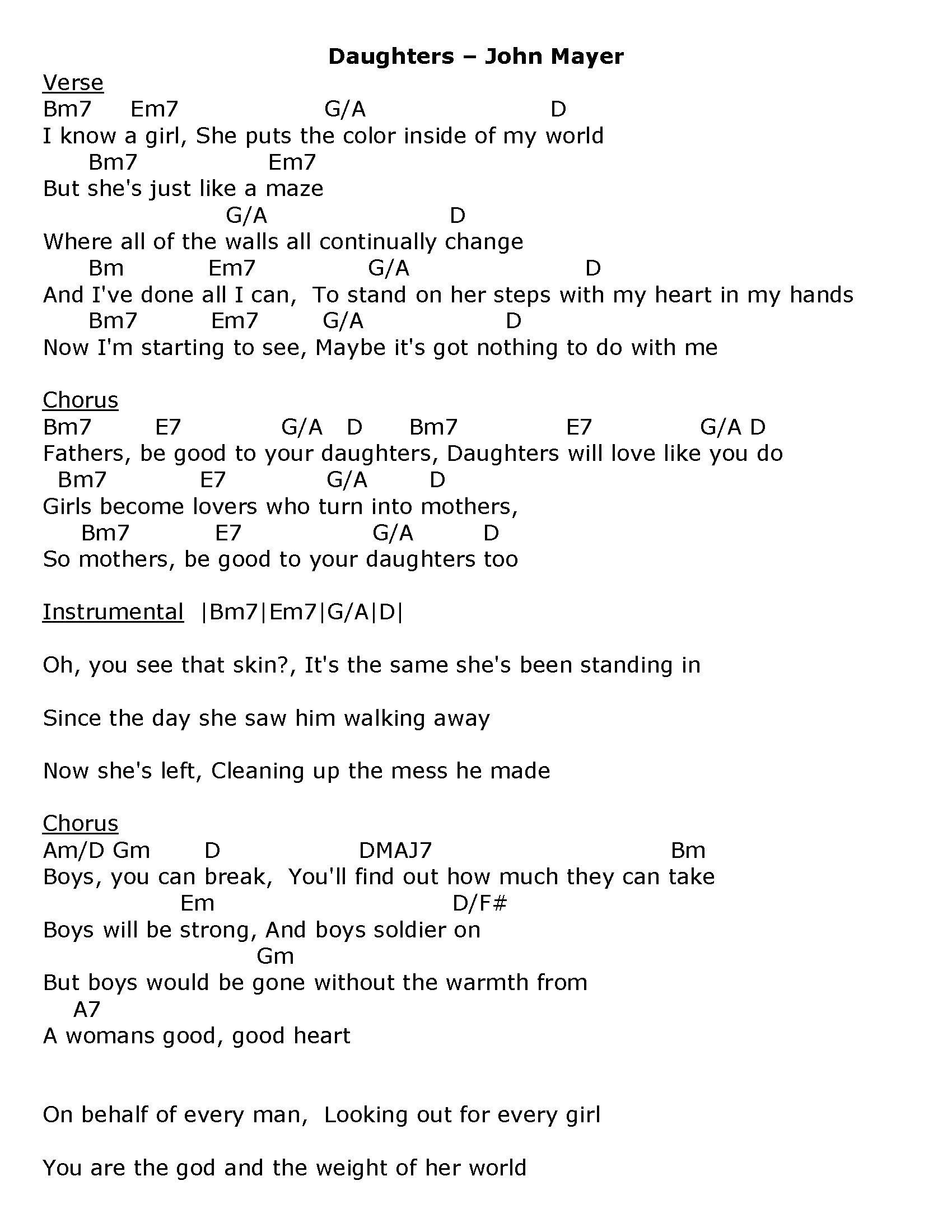 Daughters John Mayer Lyrical Perfection Lyrics Pinterest