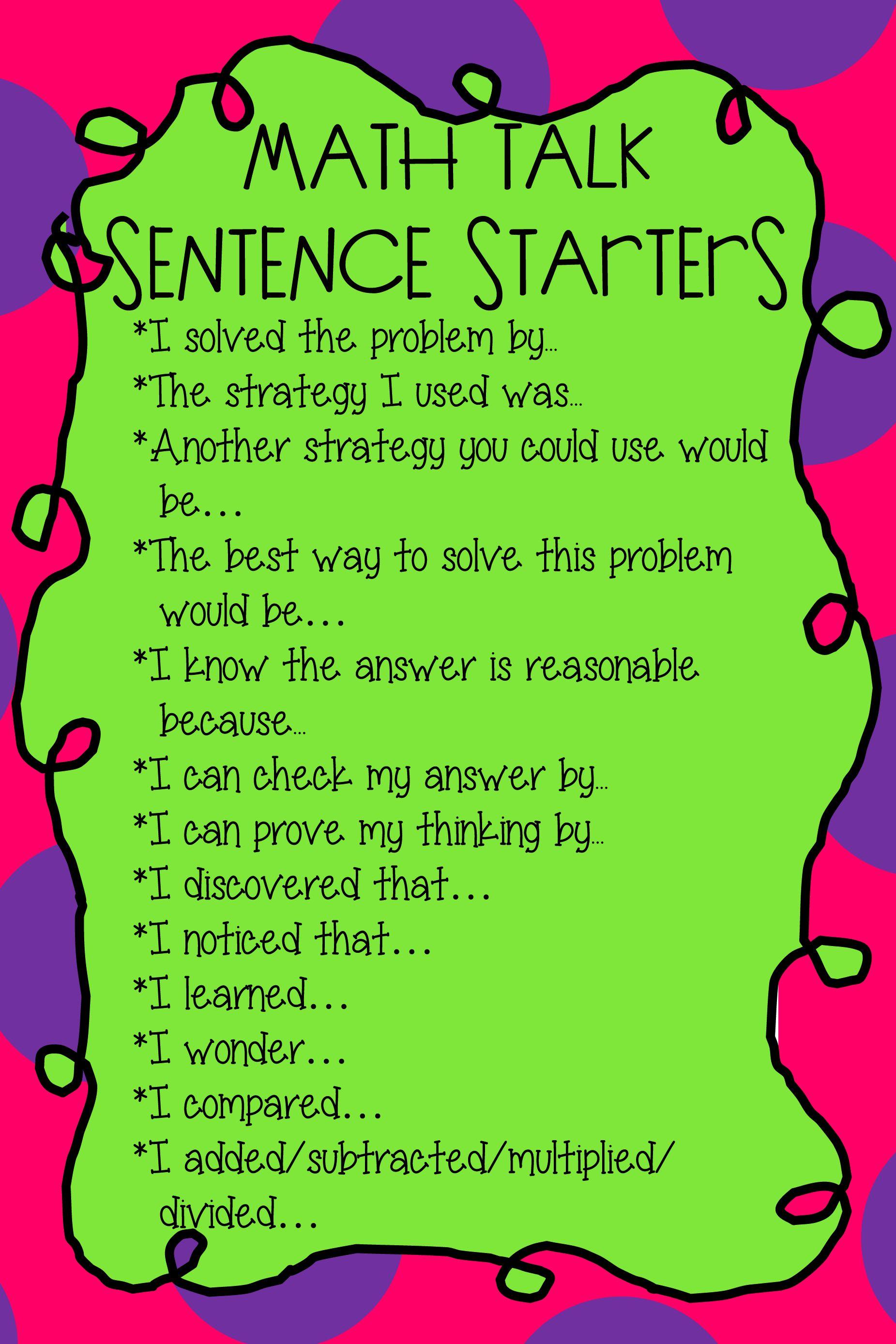 Math Talk Sentence Starters
