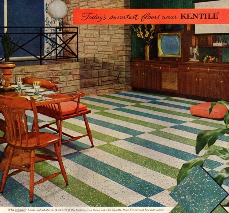 17 Striped Checkerboard Patterned Floors From 1950s Homes 1950s Decor Flooring Vct Tile