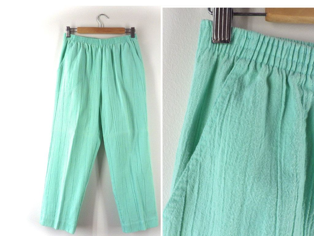 0b3f635bf46 Vintage 1990s Minty Cropped Pants - Vintage High Waisted Pastel Green Ankle  Trousers - Crinkled Cotton - USA Made Capris - Medium Large M L by  Iterations on ...